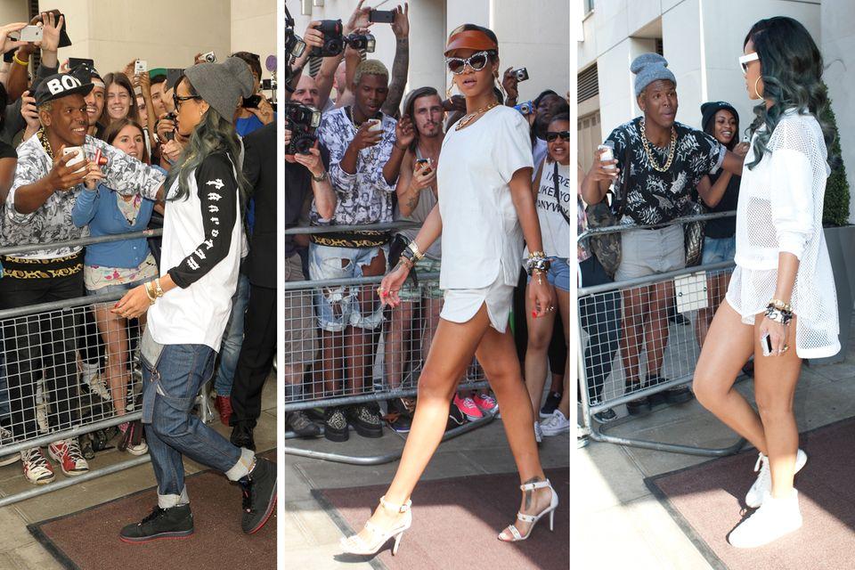 Immer dabei - und mittendrin: Während ihres England-Trips im Juli 2013 wich ein unbekannter Fan nicht von Rihannas Seite. Zwölf Tage lang stand er mit gezücktem Smartphone vor Hotel- oder Bühnenausgängen bereit, um möglichst nah an die R&B-Ikone ranzukommen. Rihanna blieb unentschlossen: Mal machte sie mit, mal wirkte sie wie ferngesteuert. Über Twitter bekommt der Fan auch weiterhin Botschaften von seinem Star, wie Millionen andere