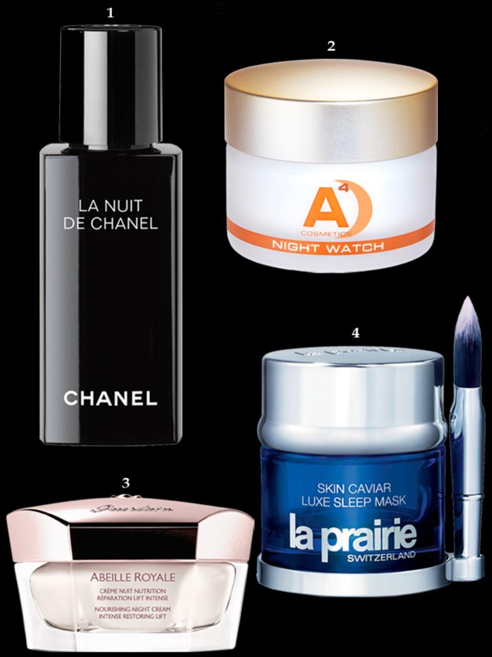 """1. Beruhigt mit Weihrauch-Extrakt: """"La Nuit de Chanel"""", 50 ml, ca. 75 Euro; 2. Glättet und entgiftet: Anti-Age-Pflege """"Night Watch"""" von A4, 50 ml, ca. 165 Euro, www.a4cosmetics.de; 3. """"Abeille Royale – Crème Nuit Nutrition"""" von Guerlain, 50 ml, ca. 165 Euro; 4. Festigt und kräftigt mit Kaviarextrakt: """"Skin Caviar Luxe Sleep Mask"""" von La Prairie, 50 ml, ca. 260 Euro"""
