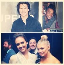 So geht Photobombing: Donald Faison schleicht sich auf das Bild von Tom Cruise, Zach Braff stört Jessica Alba und Fergie beim Posieren.