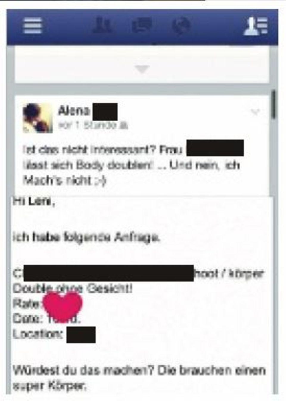 Zu Alenas Schutz hat GALA einige Stellen in ihrem Facebook-Eintrag unkenntlich gemacht.