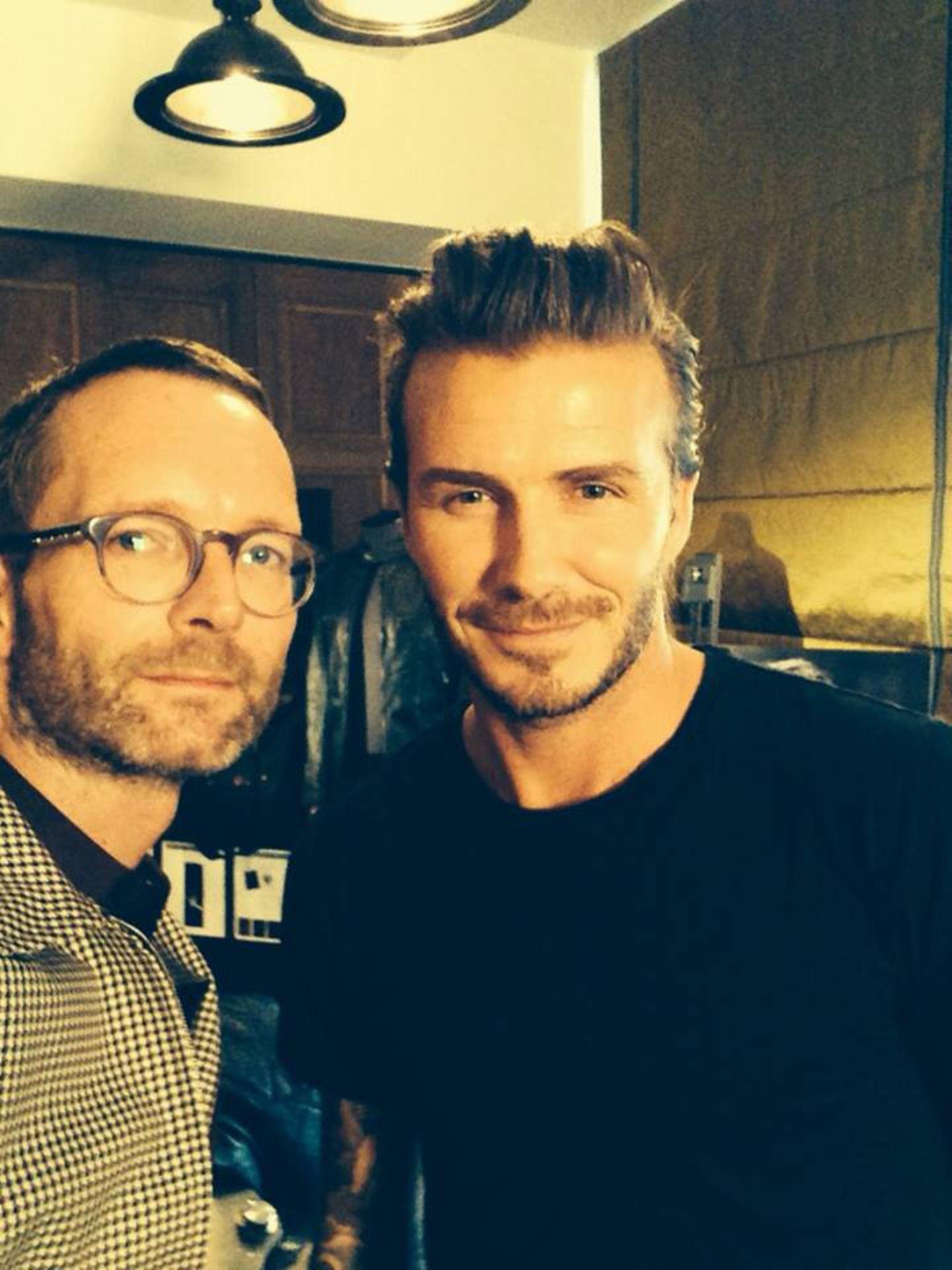 """Stil-Experten: Modechef Marcus Luft traf David Beckham zu einem exklusiven Gespräch im Berliner """"Soho House""""."""