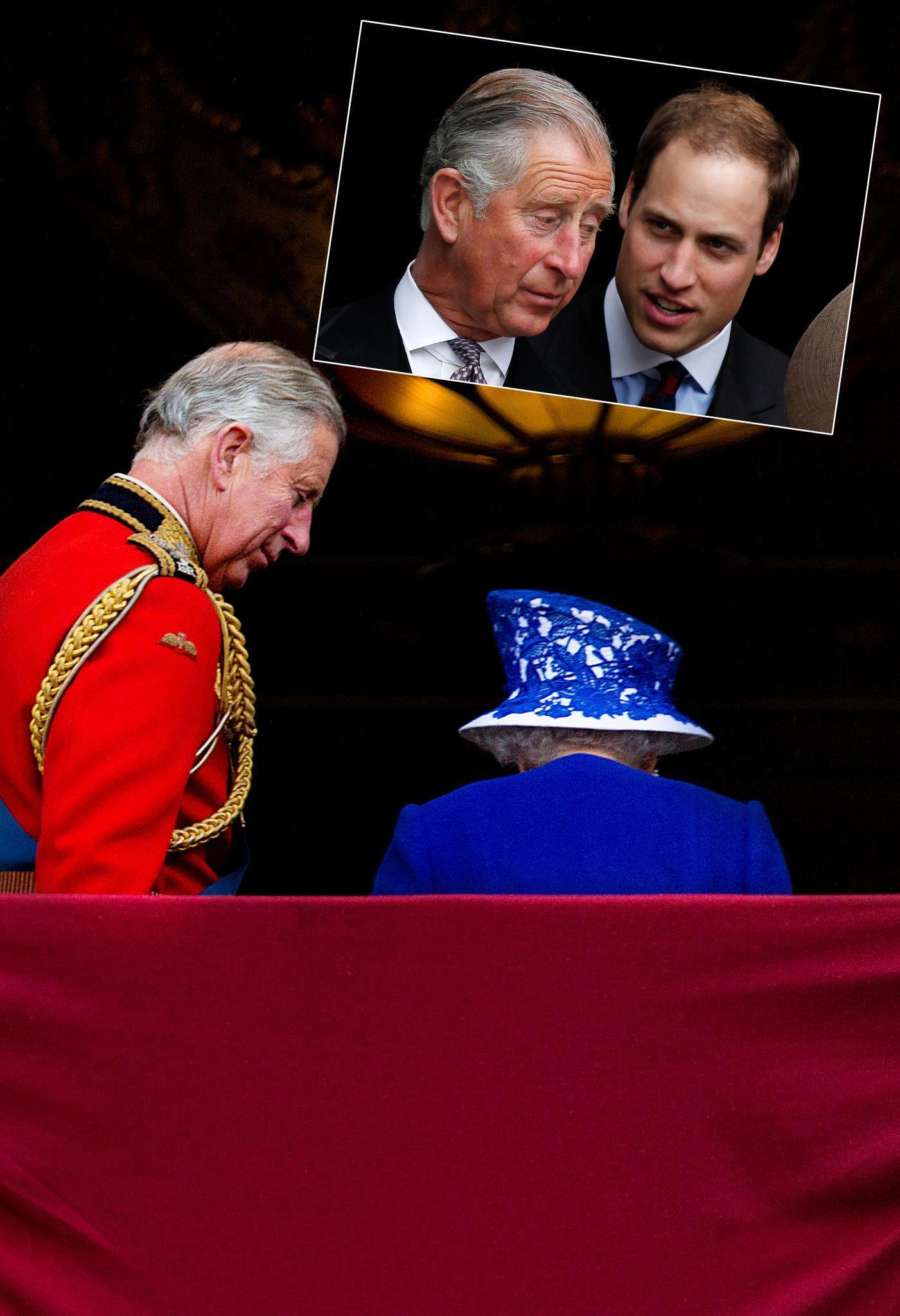 Generationen-Vetrag: Nach einer Parade für die Queen lässt Prinz Charles seiner Mutter auf dem Balkon von Buckingham Palace wie gewohnt den Vortritt. Eines Tages wird er ihr auf den Thron folgen, sein ältester Sohn Prinz William dürfte noch länger warten müssen.