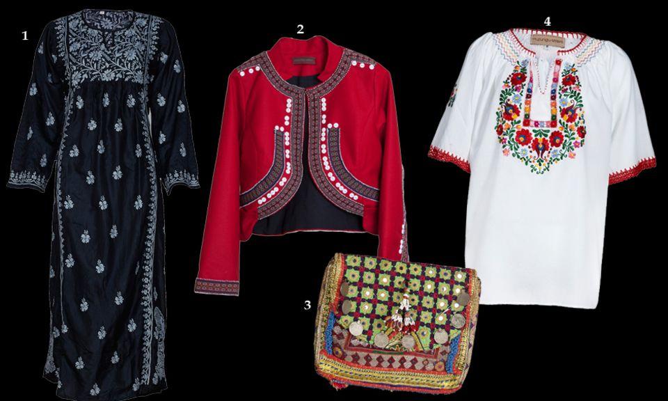 1. Indischer Kaftan aus schwarzer handbestickter Seide; 2. Die rote Bolero-Jacke aus Peru ist eines der Lieblingsstücke von Tatiana Santo Domingo; 3. Ethno trifft Hightech: iPad-Taschen fanden die Schwestern in Pakistan; 4. Alles handgemacht und damit einzigartig – wie diese bestickte Bluse
