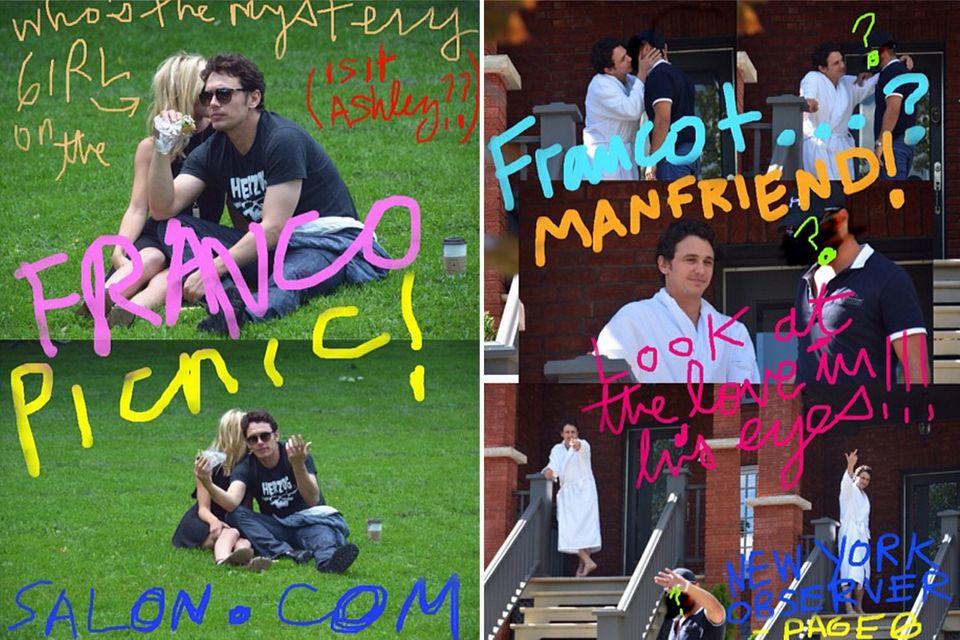 James Franco macht sich mit selbstgeschossenen Paparazzi-Bildern über die Hollywood-Fotografen lustig.