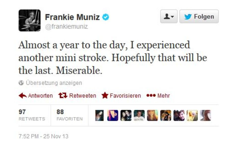 Frankie Muniz berichtet seinen Fans via Twitter von dem erneuten Schlaganfall