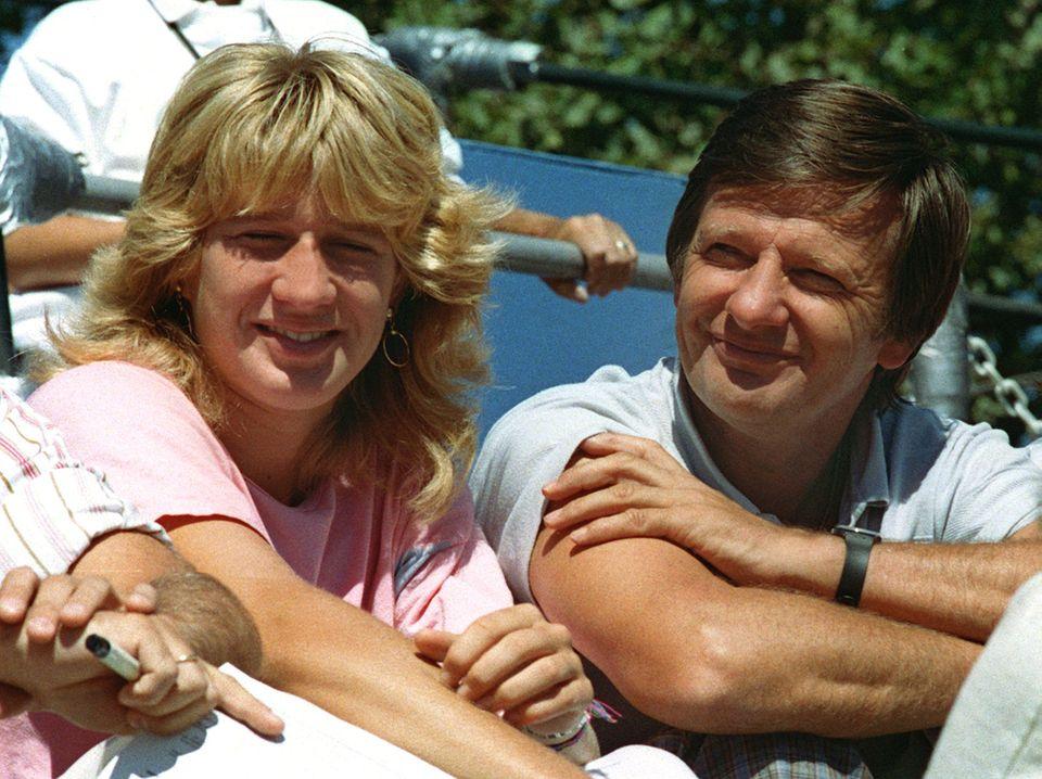 Steffi Graf und Vater Peter beim Sieg der US Open 1987