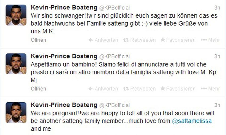Freude hoch drei: Auf Deutsch, Italienisch und Englisch verkündete der Fußballer die freudige Nachricht.