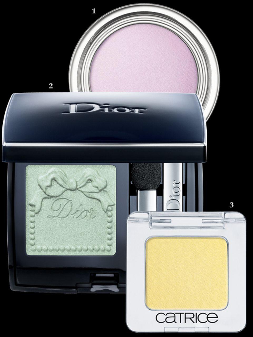 """1. Lila: """"Celeste Fusion Mono Matte – 121"""" von Dior. 2. Grün: """"Mono Trianon Édition – 427"""" von Dior. 3. Gelb: """"Mono 770"""" von Catrice. Alles erhältlich ab Februar 2014"""