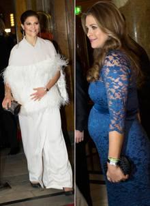 Kronprinzessin Victoria und Prinzessin Madeleine haben sich für den 70. Geburtstag ihrer Mutter, Königin Silvia, bodenlange Abenkleider ausgesucht.