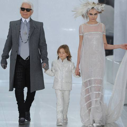Karl Lagerfeld, Hudson Kroenig und Cara Delevingne