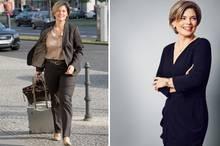 Vorher - Nachher: In einem Kleid von Anja Gockel posiert die Oppositionsführerin im Mainzer Landtag für Gala. Das Foto links ist noch nicht mal ein Jahr alt, es stammt vom September 2013.