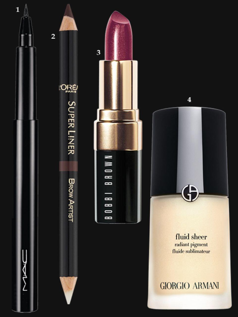 """1. Schwarzer Flüssig-Eyeliner """"Penultimate"""" von Mac, ca. 21 Euro; 2. """"Brow Artist Shaper Augenbrauenstift – Brunette 03"""" von L'Oréal Paris, ca. 9 Euro; 3. """"Shimmer Lip Color – Ruby Shimmer"""" von Bobbi Brown, ca. 25 Euro; 4. Highlighter: """"Fluid Sheer Radiant Pigment"""" von Giorgio Armani, 30 ml, ca. 50 Euro"""