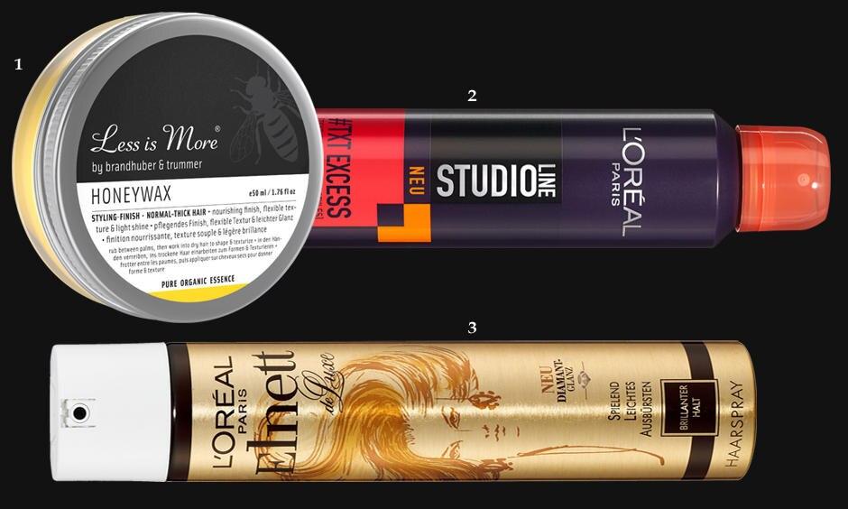 """1. Pflegendes Finish: """"Honeywax"""" von Less is More, 50 ml, ca. 23 Euro; 2. """"Studio Line #TXT Excess Volume Texturizing Spray"""" von L'Oréal Paris, 200 ml, ca. 5 Euro; 3. Haarspray """"Elnett de Luxe Diamant"""" von L'Oréal Paris, 300 ml, ca. 5 Euro"""