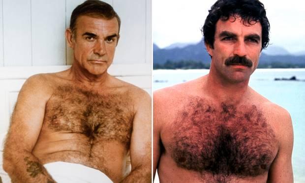 """Echte Superhelden waren schon immer behaart! James-Bond-Legende Sean Connery und """"Magnum""""-Darsteller Tom Selleck (r.) gelten bis heute als Sinnbild echter Männlichkeit. Jetzt ist ihr Look zurück."""