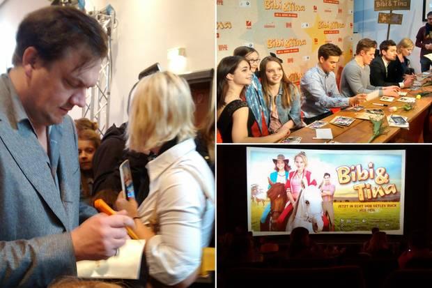 """Volles Haus im Hamburger Cinemaxx bei der Premiere von Detlev Bucks Film """"Bibi&Tina"""": Die Fans des Pop-Dramas gaben Szenen-Applaus und sangen bei den Songs mit. Dafür gaben Schauspieler wie Charly Hübner und Winnie Böwe auch total geduldig Autogramme."""