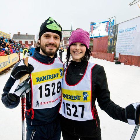 """Prinz Carl Philip mit Freundin Sofia Hellqvist beim """"Wasalauf"""" in Schweden."""