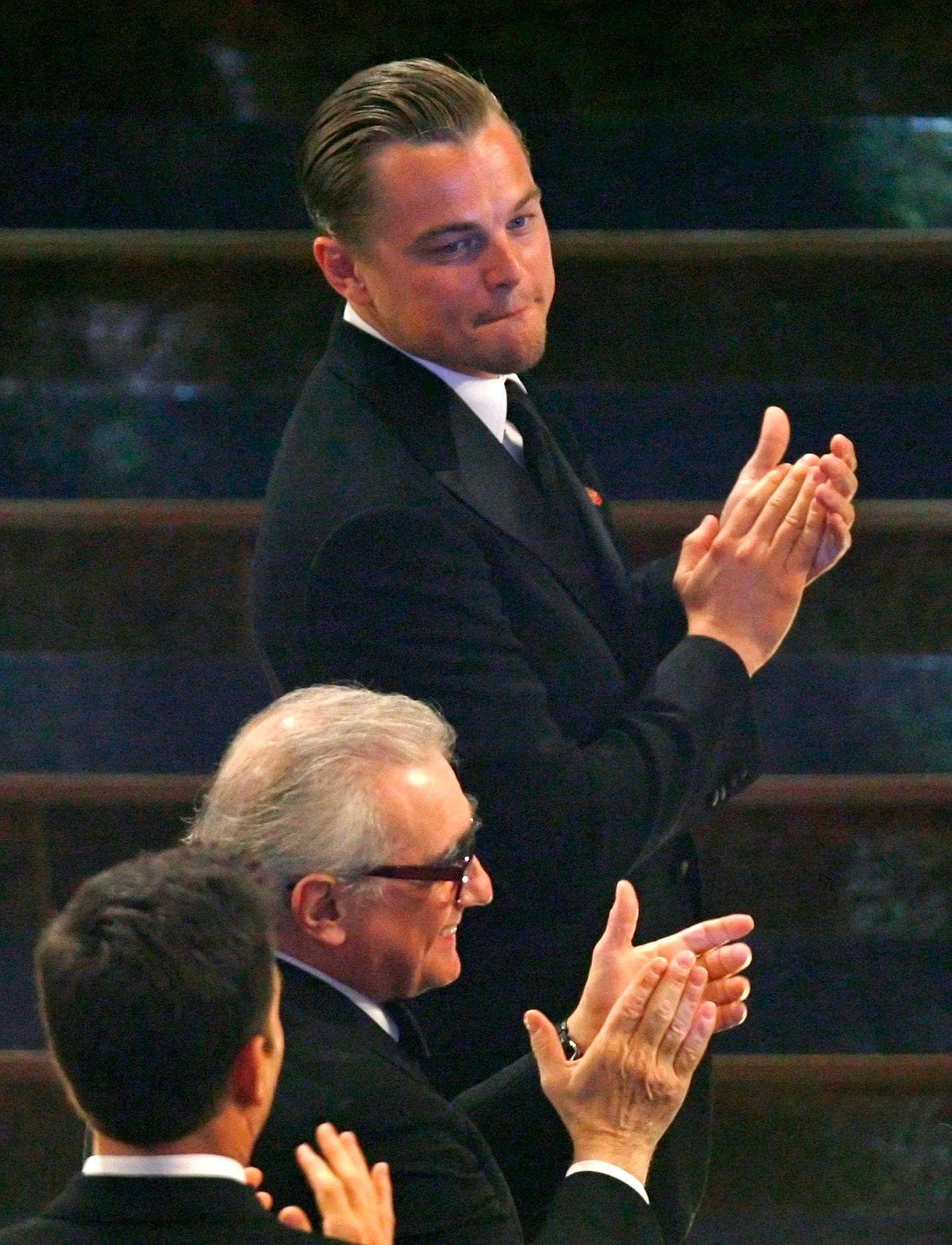 """Leonardo DiCaprio bei der Oscar-Verleihung 2007, bei der er für die Hauptrolle im Film """"Blood Diamond"""" nominiert war."""
