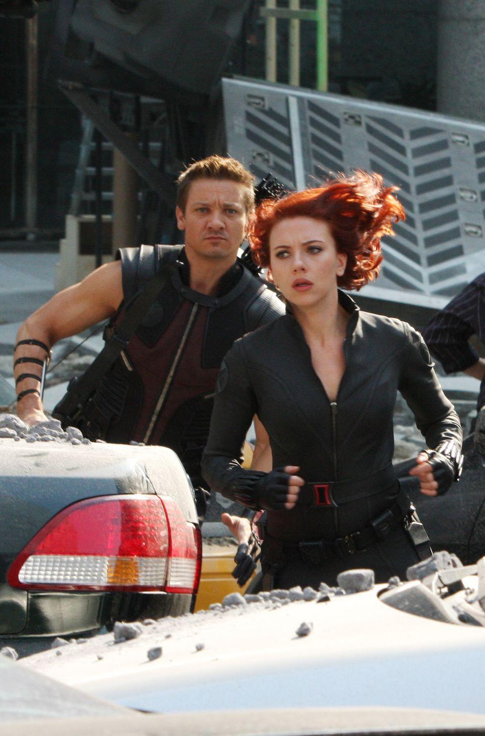 """Scarlett Johansson 2011 als """"Black Widow"""" während der Dreharbeiten zu """"The Avengers"""""""