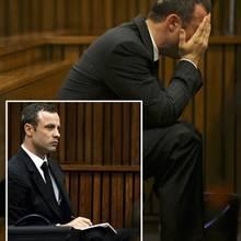 Oscar Pistorius, erst gefasst (kl. Bild), später am Boden zerstört
