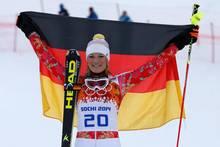 In Sotschi feierte Maria Höfl-Riesch nach Gold in der Super-Kombination ihre Silbermedaille im Super-G.