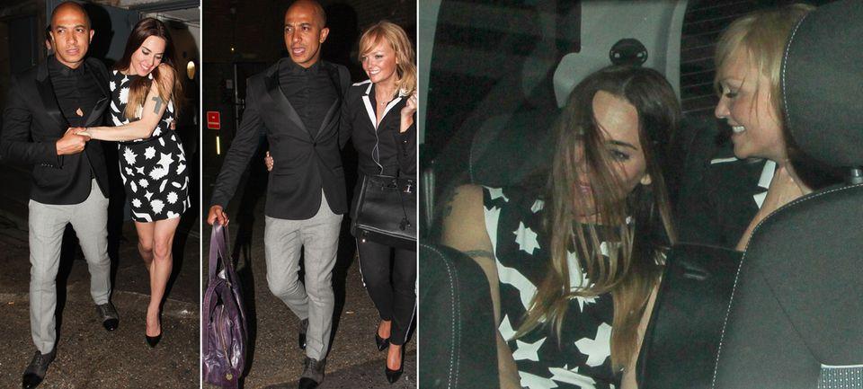 Perfekter Gentleman: Emma Buntons Verlobter Jade Jones half Mel C ins Auto und trug dann die Tasche seiner Liebsten. Im Auto hatten die beiden Damen noch viel zu lachen.