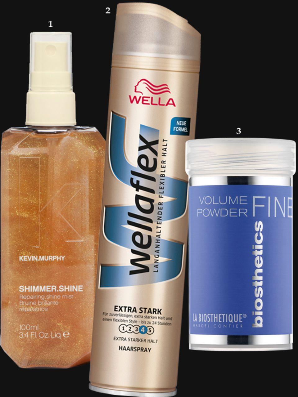 """1. """"Shimmer.Shine""""-Spray von Kevin Murphy, 100 ml, ca. 28 Euro; 2. """"Form & Finish Haarspray extra starker Halt"""" von Wellaflex, 75 ml, ca. 1,50 Euro; 3. """"Volume Powder"""" von La Biosthétique, 14 g, ca. 19 Euro"""