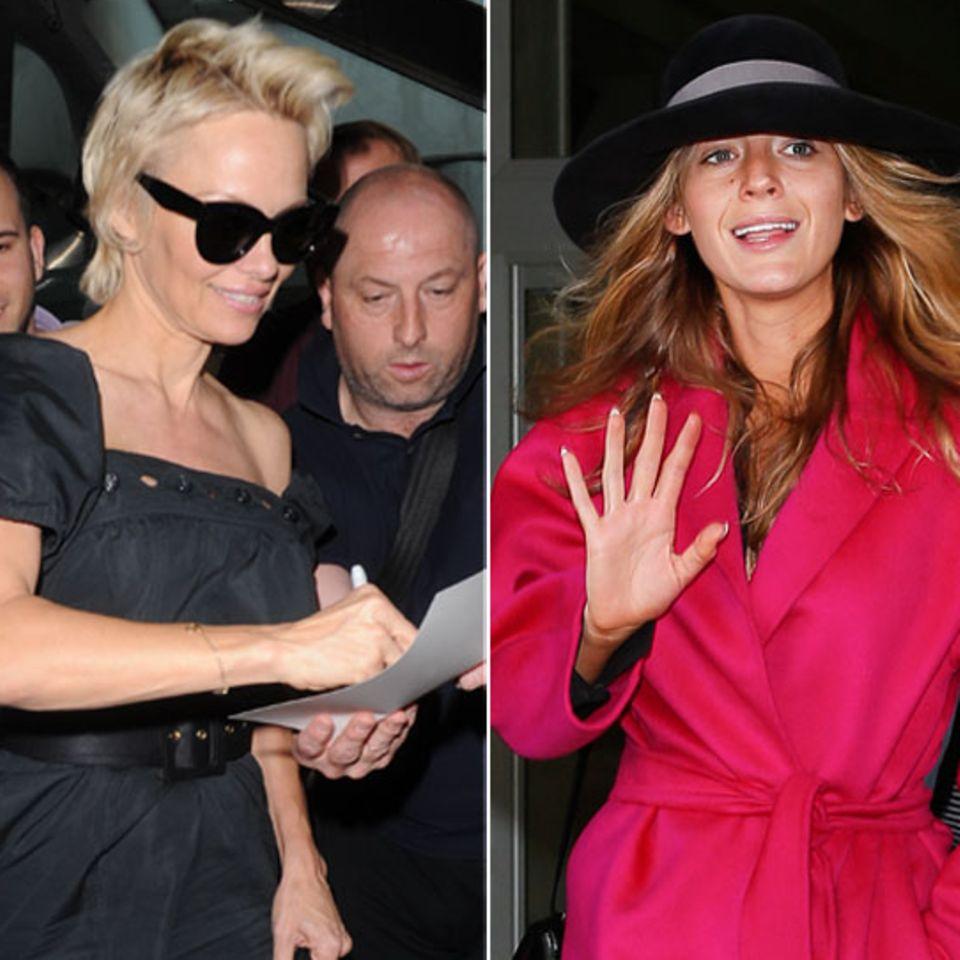 Pamela Anderson und Blake Lively bei der Ankunft am Nizzaer Flughafen