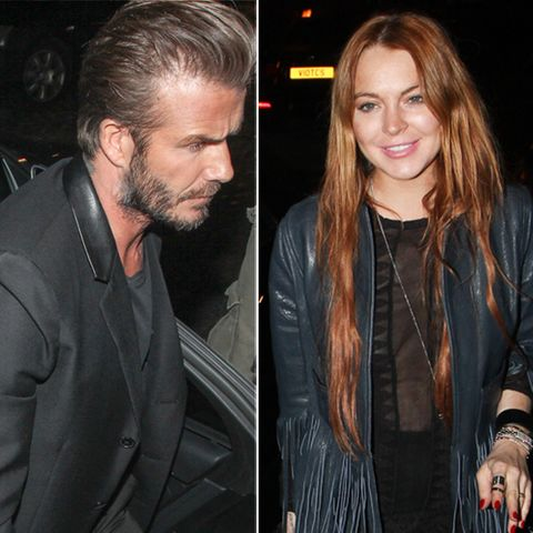 "David Beckham und Lindsay Lohan vor dem ""Firehouse"" in London"