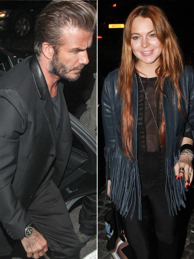 "David Beckham und Lindsay Lohan vor dem ""Firehouse"" in London"