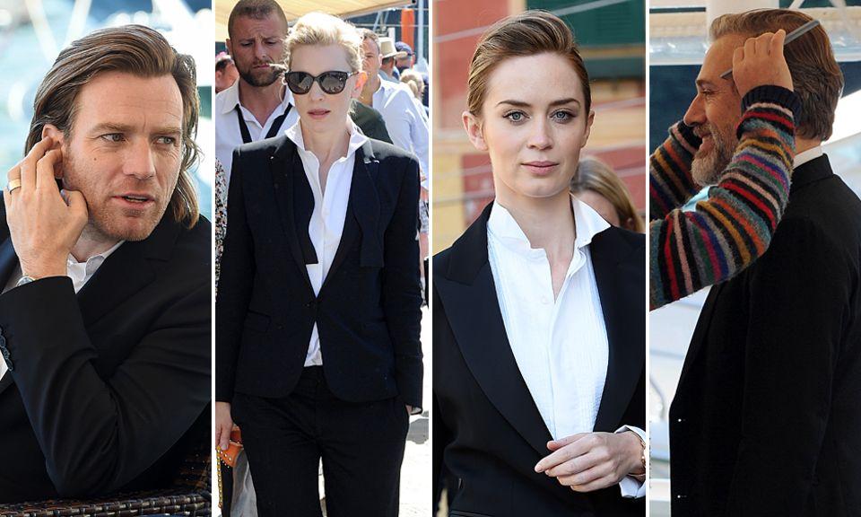 Ewan McGregor, Cate Blanchett, Emily Blunt und Christoph Waltz posieren gemeinsam in Cannes für eine Kampagne des Luxus-Uhrenherstellers IWC.