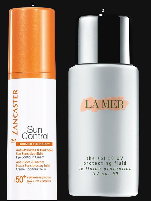 """Speziell für die Augenpartie: """"Sun Control SPF 50+ Eye Contour Cream"""" von Lancaster, 15 ml, ca. 40 Euro. Schützt vor Falten und Pigmentflecken: """"La Mer UV Protecting Fluid SPF 50"""", von La Mer, 50 ml, ca. 80 Euro"""