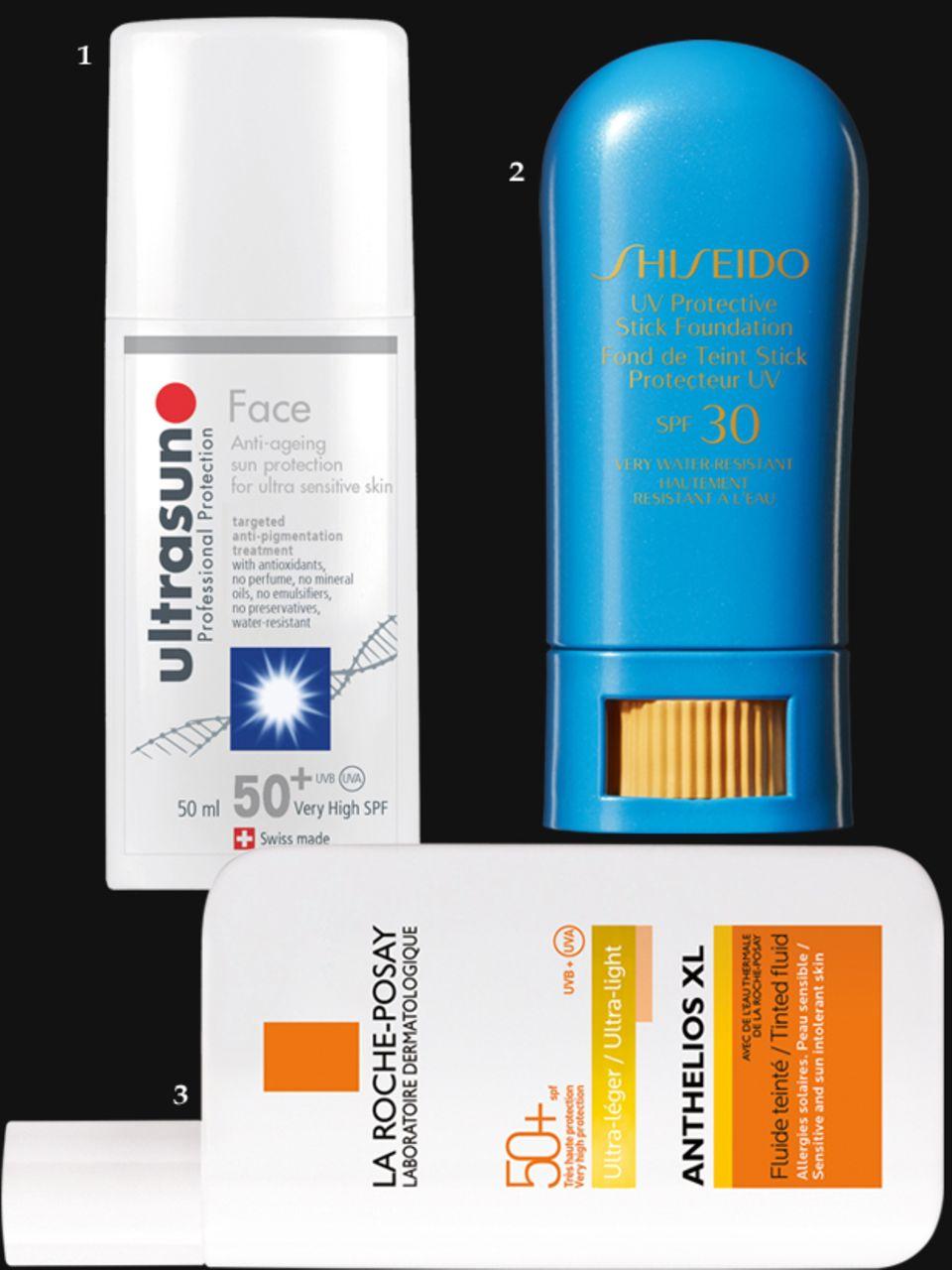 """1. """"Face SPF50+ Anti-Pigmentation"""" von Ultrasun, 50 ml, ca. 23 Euro; 2. """"Suncare UV Protective Stick Foundation SPF 30"""", von Shiseido, ca. 26 Euro; 3. """"Anthelios XL LSF 50+ Getöntes Fluid"""" von La Roche-Posay, 50 ml, ca 20 Euro"""