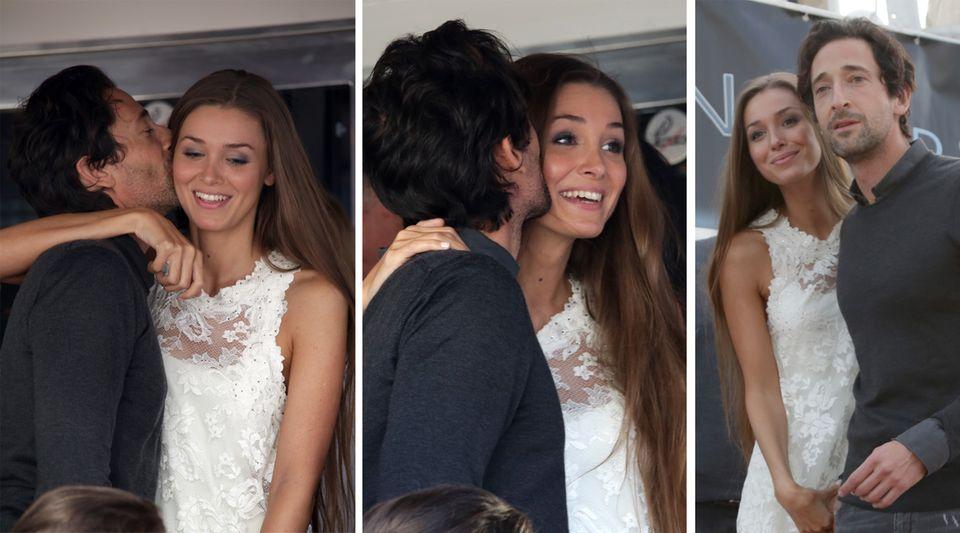 Knutschen, tuscheln, lächeln: Adrien Brody und Lara Lieto turteln in Cannes.