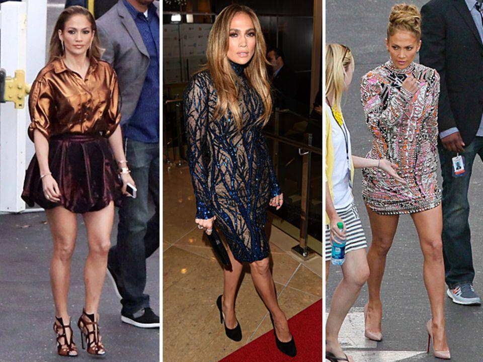 Jennifer Lopez zeigte sich zuletzt in einer weiten Metallic-Bluse von Lanvin zum auberginefarbenen Rock von Vivienne Westwood Red Label, einem Pailletten besetzten Rollkragenkleid von Zuhair Murad und einem üppig bestickten, farbenfrohen Kleid von Emilio Pucci.