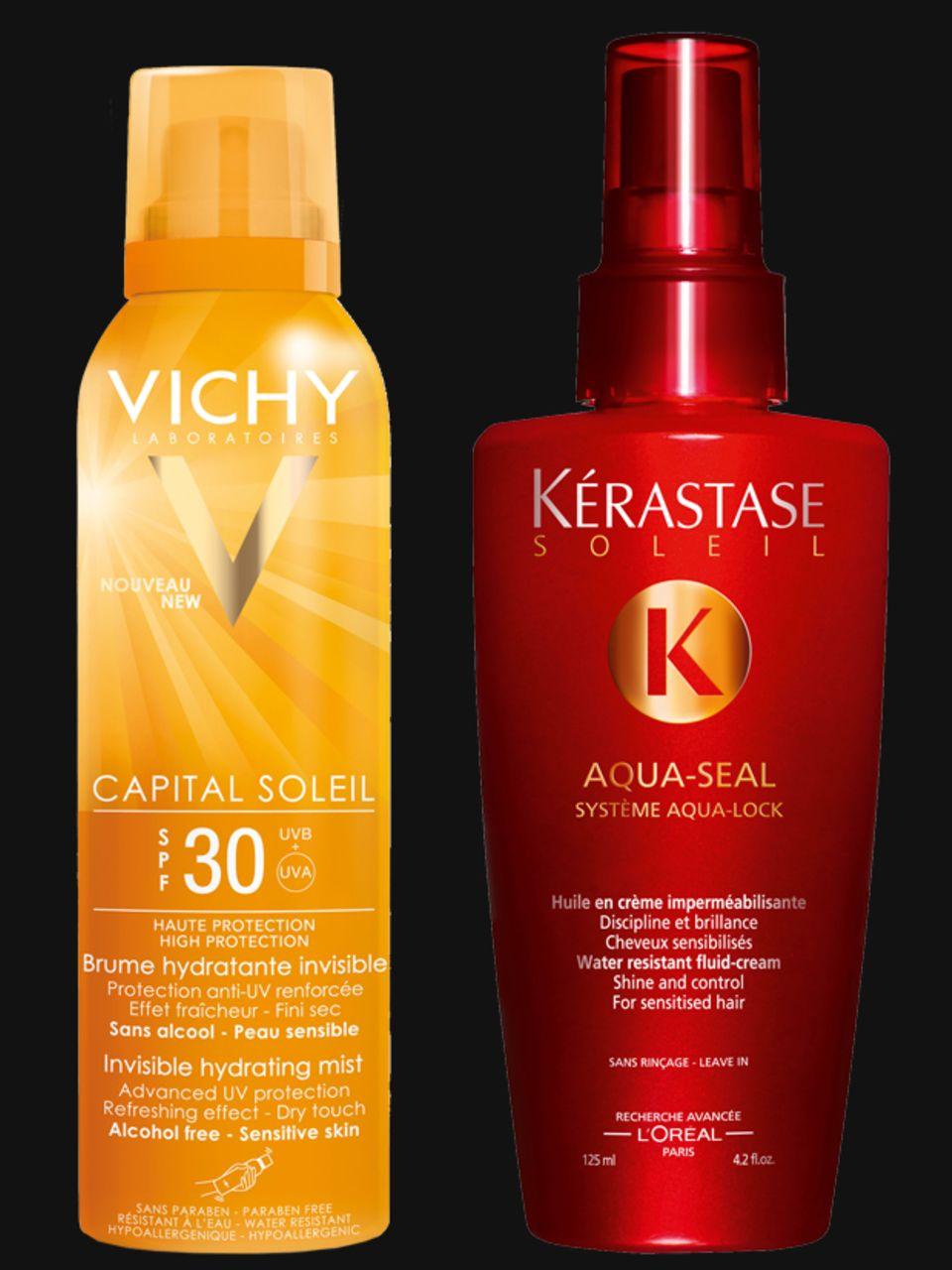 """Links: Kühlendes, unsichtbares Spray – perfekt für kluge Köpfe! """"Capital Soleil Spray"""" von Vichy, 200 ml, ca. 21 Euro. Rechts: Wasserfester UV-Schutz auch fürs Haar: """"Aqua Seal"""" von Kérastase, 125 ml, ca. 27 Euro"""