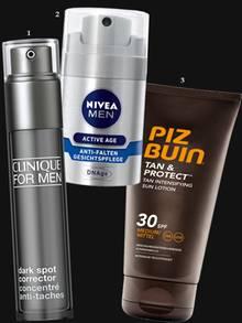 """1. Mindert Pigmentflecken: """"Dark Spot Corrector"""" von Clinique Men, 30 ml, ca. 62 Euro (zusätzlich UV-Schutz auftragen!). 2. All-in-one, Anti-Aging plus UV-Schutz: """"Anti-Falten Gesichtspflege DNAge"""" von Nivea Men, 50 ml, ca. 13 Euro; 3. Wasserfester Schutz, der die Melaninzellen auf Trab bringt: """"Tan & Protect"""" von Piz Buin, 150 ml, ca. 9 Euro"""