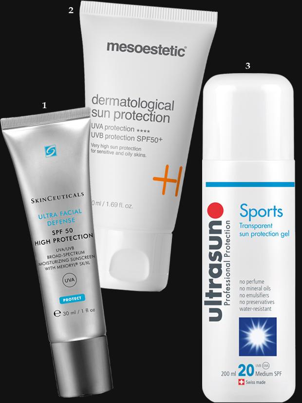 """1. Enthält weder Parfüm noch Futter für Mitesser: """"Ultra Facial Defense"""" von SkinCeuticals, 30 ml, ca. 31 Euro. 2. Wirkt aktiv gegen UV-bedingte Akne: """"Dermatological Sun Protection"""" von Mesoestetic, 50 ml, ca. 42 Euro; 3. Parfümfrei, wasserfest und leicht dosierbar: das """"Sports Transparent Sun Protection Gel"""" mit SPF 20 von Ultrasun, 200 ml, ca. 28 Euro"""