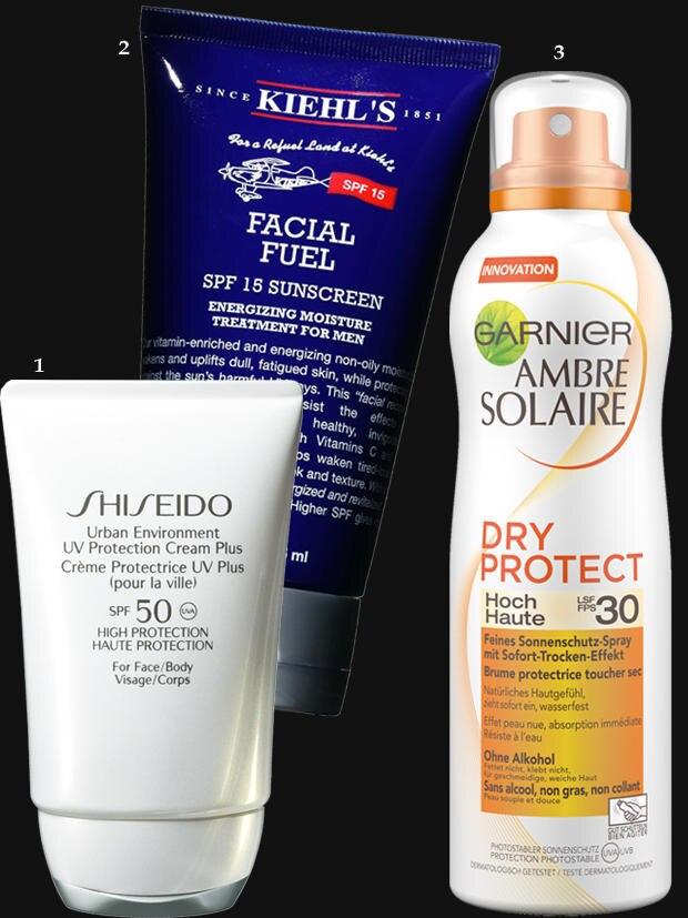 """1. Hightech für die Haut, Ruhe für die Nase: """"Urban Environment SPF 50"""" von Shiseido, 50 ml, ca. 38 Euro; 2. Erfrischt, schützt – und ist nur etwas für Kerle: """"Facial Fuel LSF 15"""" von Kiehl's, 125 ml, ca. 36 Euro; 3. Für ganz Eilige: Das """"Ambre Solaire Dry Protect""""-Spray mit LFS 30 zieht sofort ein. Von Garnier, 200 ml, ca. 11 Euro"""