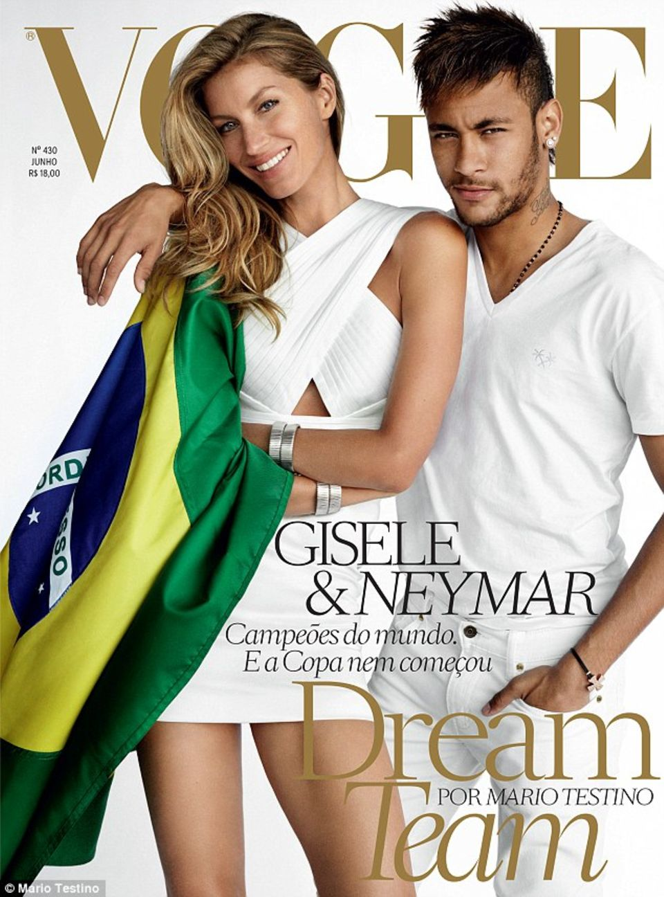Topmodel Gisele Bündchen und Fußballer Neymar sind die modernen Aushängeschilder Brasiliens. Für die WM in ihrem Heimatland werben sie auch bei einem Vogue-Covershooting.