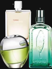 """1. Apfel und Maulbeere: """"Be Delicious Skin"""" von DKNY, EdT, 50 ml, ca. 40 Euro; 2. Bitterorange, Zeder, Rosengeranie: """"Terre d'Hermès Eau Très Fraîche"""" von Hermès, EdT, 125 ml, ca. 94 Euro; 3. Zitrone, Bioverbene aus der Provence und Gurke: """"Frisson de Verveine"""" von L'Occitane, EdT, 100 ml, ca. 46 Euro"""