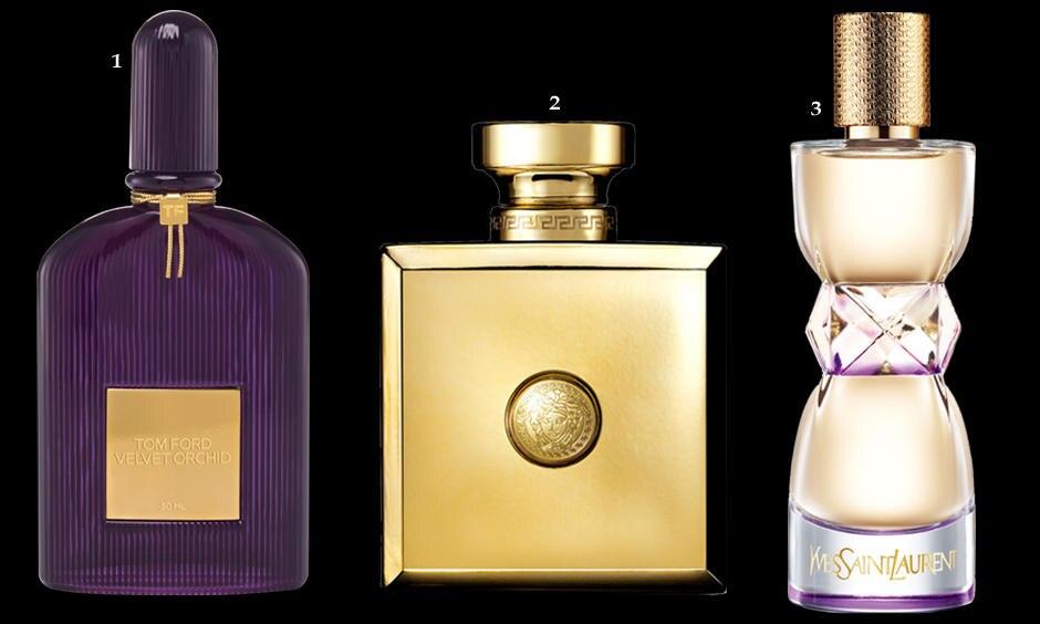 """1. Leder-Oud-Akkord, Safran, und Heliotrop, """"Oud Oriental"""" von Versace, EdP, 100 ml, ca. 150 Euro; 2. Rum, Honig, Orchidee und Jasmin: """"Velvet Orchid"""" von Tom Ford, EdP, 50 ml, ca. 94 Euro; 3. Neroli, Jasmin, Cashmeran-Holz: """"Manifesto L'Éclat"""" von Yves Saint Laurent, EdT, 50 ml, ca. 69 Euro"""