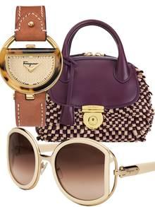 """Neue It-Teile:  Die """"Buckle Collection"""" mit Uhren und Sonnenbrillen im Spangen- Design sowie die """"Fiamma""""-Bag sind auch online erhältlich: www.ferragamo.com"""