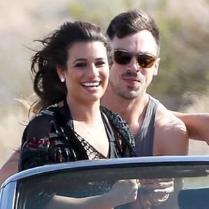"""Lea Michele, dahinter Matthew Paetz, beim Videodreh zu """"On My Way""""."""