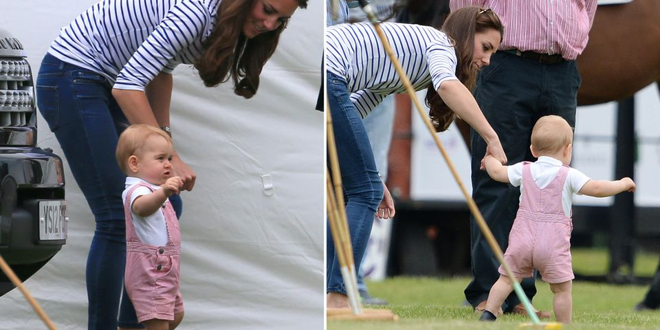 An Mamas Hand übt der kleine Prinz George das Laufen.