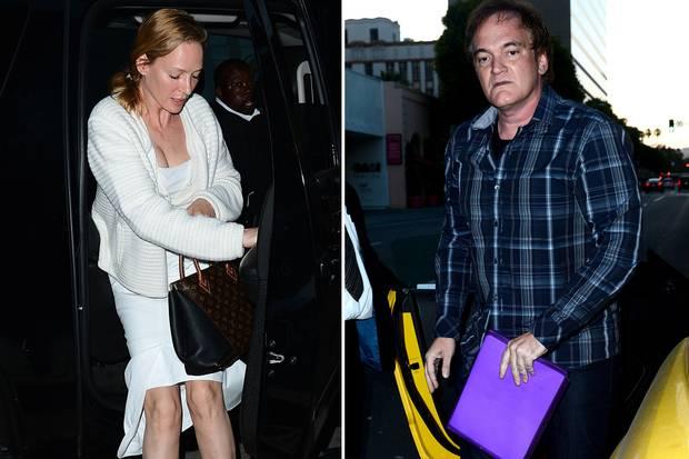 """Uma Thurman und Quentin Tarantino kommen getrennt voneinander bei """"Mr. Chow"""" an."""
