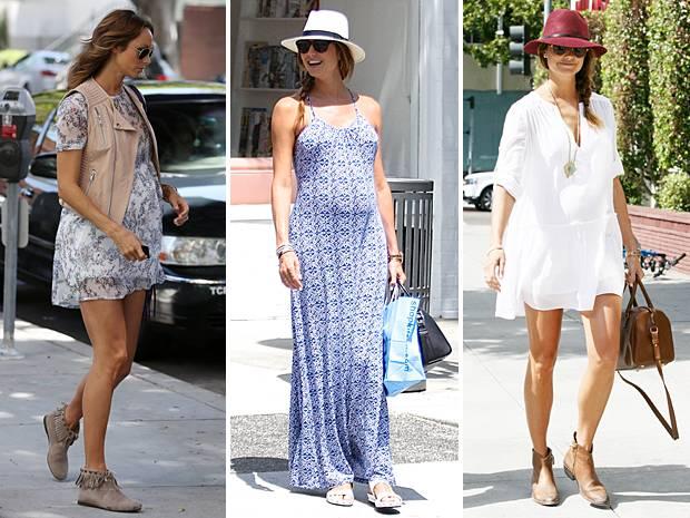 Wie tolles Styling in der Schwangerschaft geht, zeigt Stacy Keibler Tag für Tag. Leichte Sommerkleider, bequeme Schuhe und modische Hüte zeichnen ihren Look aus.