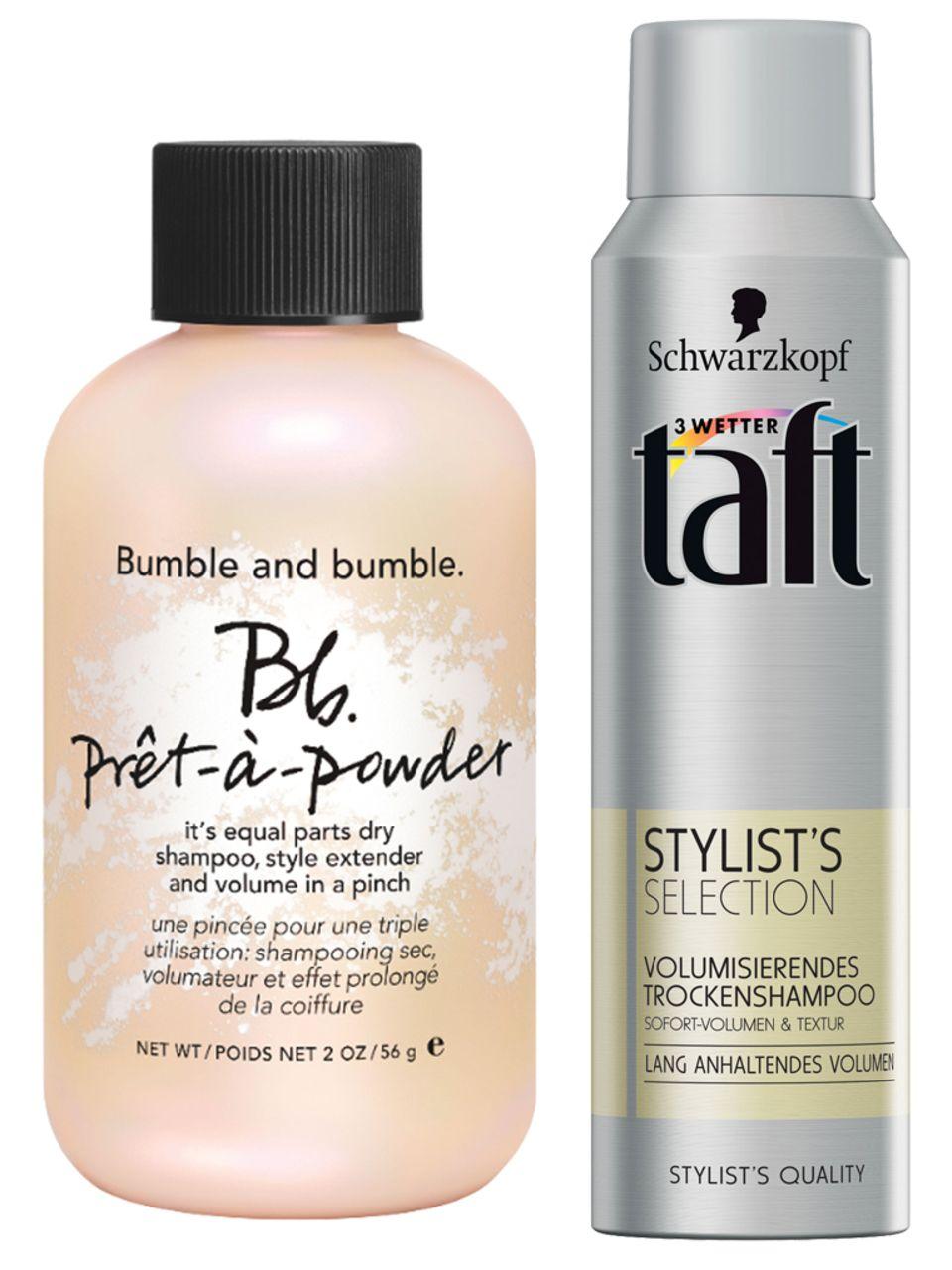 "Links: ""Bumble and Bumble Prêt-à-Powder"", 56 g, ca. 30 Euro; Rechts: ""Stylist's Selection volumisierendes Trockenshampoo"" von Taft, 150 ml, ca. 3 Euro."