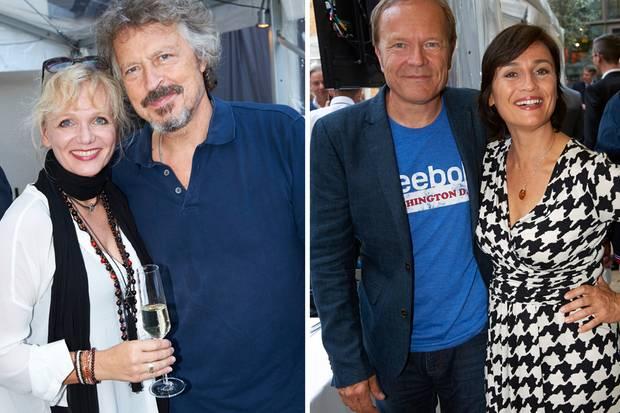 BAP feierte mit: Wolfgang Niedecken mit Ehefrau Tina.  Sandra Maischberger, hier mit ihrem Mann Jan Kerhart, drehte einen berührenden Dokumentarfilm über Biolek.