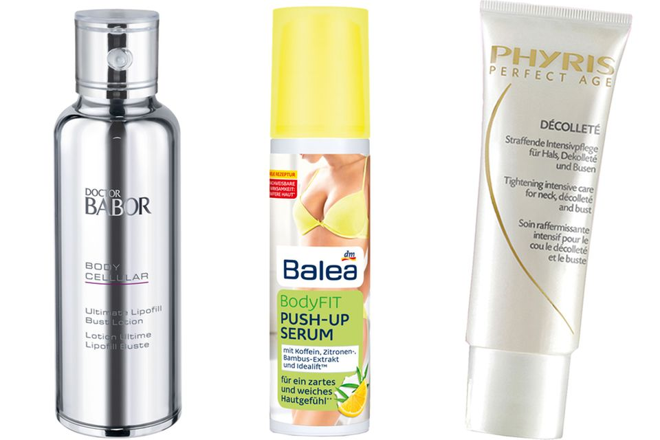 "Intensivpflege für Dekolleté und straffende Pflege für die Brust: Die ""Doctor Babor Ultimate Lipofill Bust Lotion"" (100 ml, ca. 69 Euro), ""Balea BodyFit Push-up Serums"" (100 ml, ca. 4 Euro) und ""Phyris Perfect Age Decolleté"" (75 ml, ca. 38 Euro)."