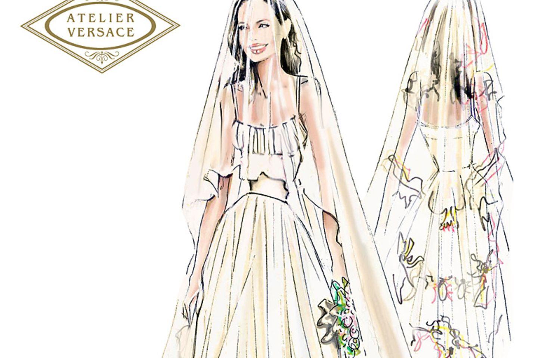 Donatella Versaces Zeichnung für das Hochzeitskleid von Angelina Jolie.